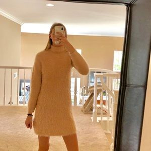Dresses & Skirts - Peach fuzzy sweater dress